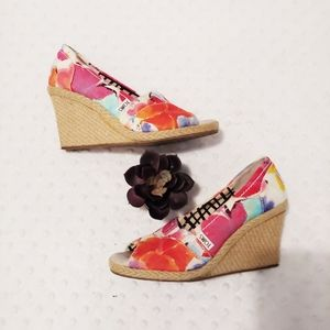 Toms Wedge Peep Toe Colorful Size 5.5